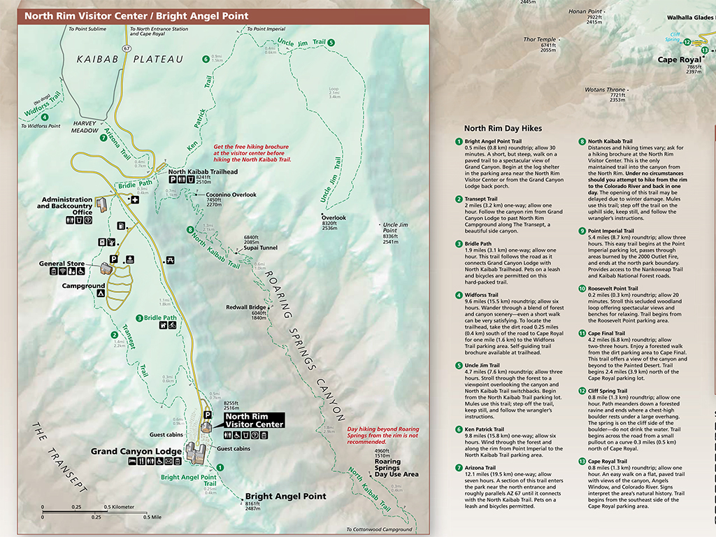 Grand Canyon Hiking Map Rim To Rim